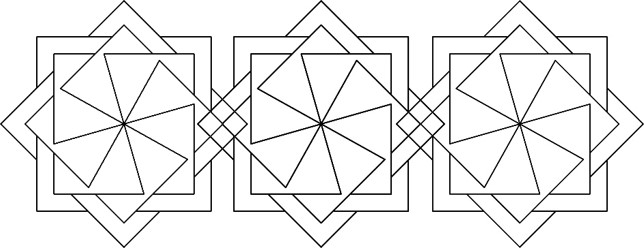 "#49013 Square Wheels 10"" Mini Wholecloth X3"