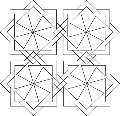 "#49013 Square Wheels 10"" Mini Wholecloth X4"